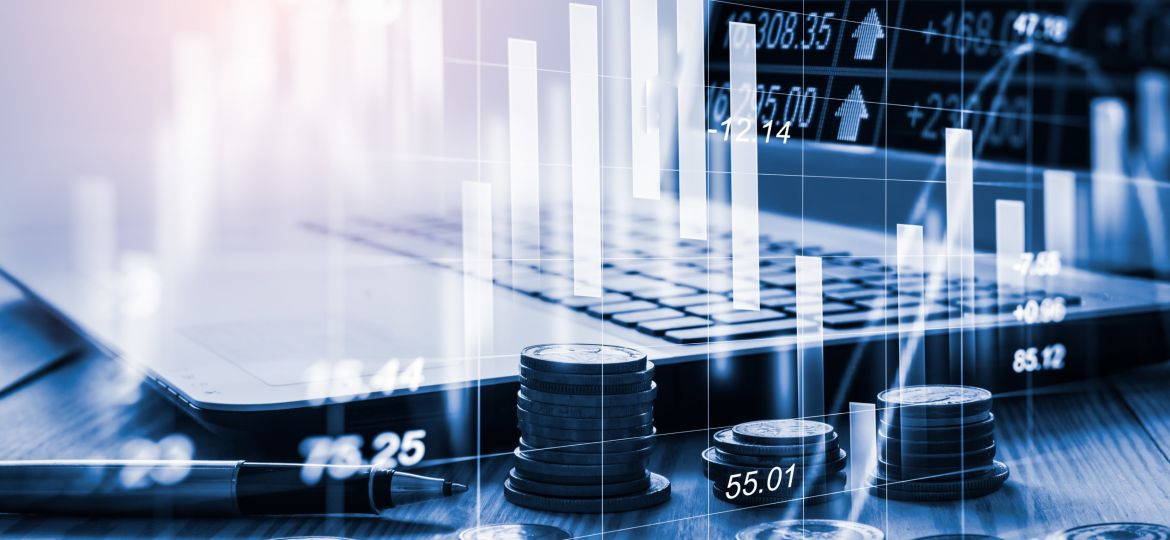 Stock market or forex trading graph and candlestick chart suitable for financial investment concept. Economy trends background for business idea and all art work design. Abstract finance background..