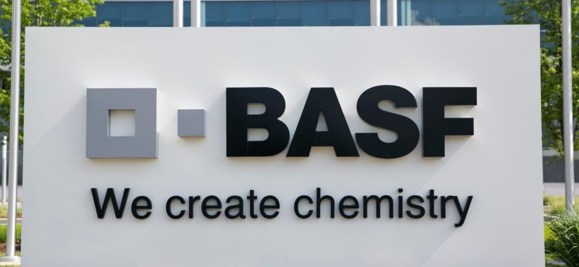 A logo sign outside of a facility occupied by BASF in Florham Park, New Jersey.