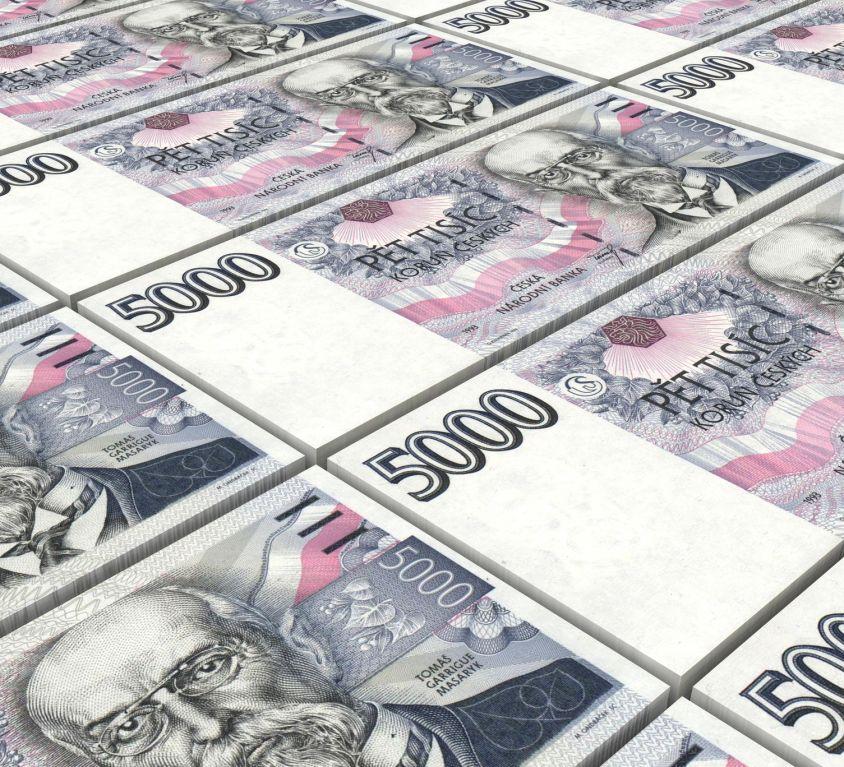 Czech koruna bills stacks background.